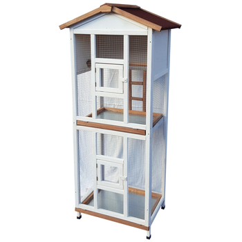 WOODEN AVIARY WITH DRAWER BELISE 2